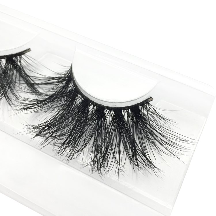 Private Label for 100% Handmade 25mm 3D Real Mink Fur Strip Lashes the Uk the US YY64