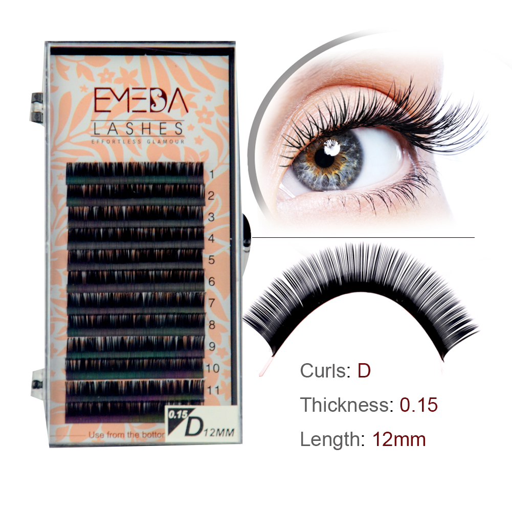 Customized Box/Logo for 0.1-0.25mm Thickness Classic Eyelash Extension Korea PBT Fiber Lashes YY91
