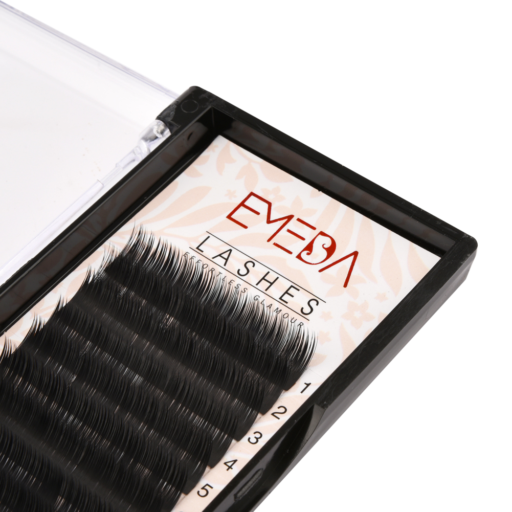 Korea PBT Fiber/Silk/Faux Mink Camellia Eyelash Extension 3 Different Length in One Row D C Curl 9/10/11 with ODM OEMYY13