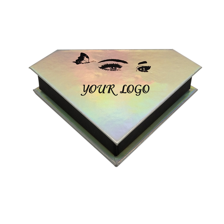 Holographic Empty Eyelash Packaging Diamond Shape Box For Lashes ZX039