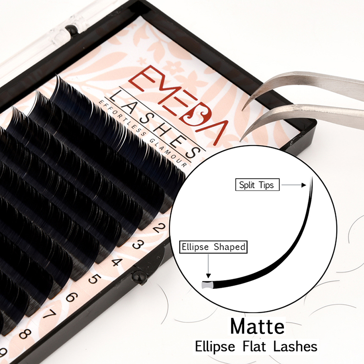 Wholesale Eyelash Extensions Private Label Cashmere Ellipse Flat Lashes USA JN29