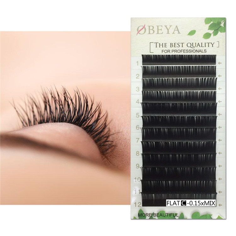 Fast Delivery Flat Eyelash Extension 0.15 0.1 0.12 Thickness Split Ellipse Eyelashes with Private Label YY43