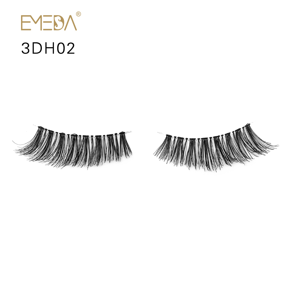 Wholesale Factory Price Human Hair 3D Strip Eyelashes ODM OEM Accepted YY09
