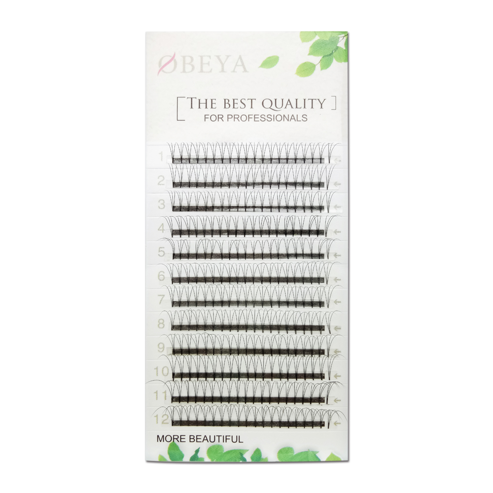 3D Russian Volume Eyelash Extenisons 0.10 D Curl 14mm Short Stem ZX059