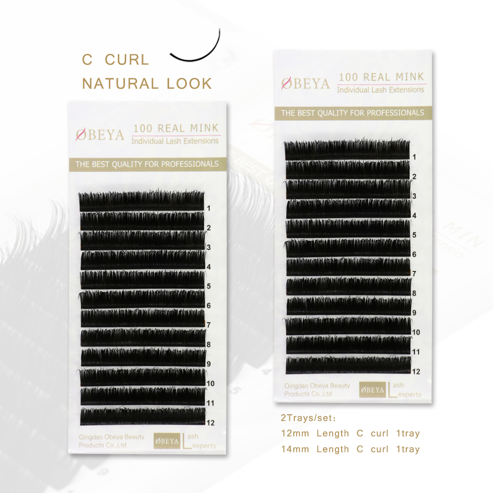 Free Sample Accepted 100% Real Mink Fur Individual Eyelash Extension C D Curl with Private Logo YY56