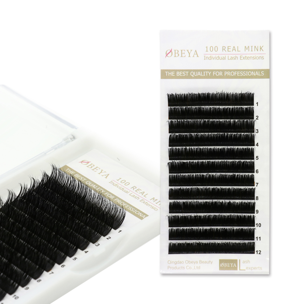 Wholesale Price Private Label 100% Real Mink Fur Eyelash Extension C D Curl YY74