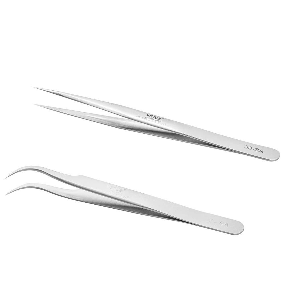 Stainless Steel Tweezer for Individual Eyelash Extension Curved and Straight YY35