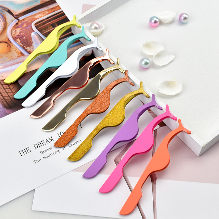 Custom Logo Stainless Steel Eyelash Applicator Tweezers for Strip Lash ZX098